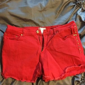Forever 21 Red with Gold Studs high waisted shorts